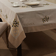 Beige Linen / Cotton Blend Rectangular Table Cloths