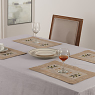 Beige Lin Rectangulaire Sets de table
