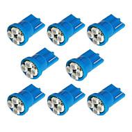 8x T10 194 168 501 4-SMD 3528 LED bil lys pære Blå