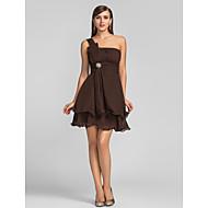 동창회 칵테일 파티 / 웨딩 파티 드레스 - 플러스 초콜릿 라인 하나 어깨 짧은 / 미니 쉬폰 크기