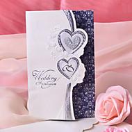 הזמנה לחתונת עיצוב לב זוגית - סט של 50