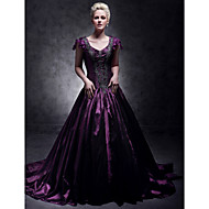 TS Couture Formal Evening / Quinceanera / Sweet 16 Dress - Grape Plus Sizes / Petite Ball Gown / A-line / Princess V-neck Court Train Taffeta