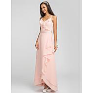 Lanting Bride® Asymmetrical Chiffon Bridesmaid Dress - Sheath / Column Spaghetti Straps Plus Size / Petite withSash / Ribbon / Cascading