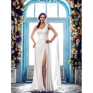 Sheath/Column Plus Sizes Wedding Dress - Ivory Sweep/Brush Train One Shoulder Chiffon