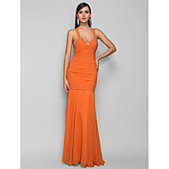 Formal Evening / Prom / Military Ball Dress - Orange Plus Sizes / Petite Trumpet/Mermaid Halter Floor-length Chiffon