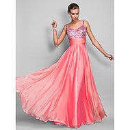 Prom / Formal Evening / Military Ball Dress - Plus Size / Petite Sheath/Column Spaghetti Straps Floor-length Chiffon / Sequined