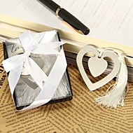 """Love Story"" Metal Heart Shaped Bookmark With Tassel Wedding Favor"