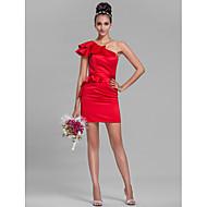 Lanting Bride® Curto / Mini Cetim Vestido de Madrinha Tubinho Mula Manca Tamanhos Grandes / Mignon com Babados / Faixa / Fita