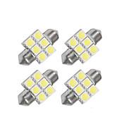 4 x 31mm 6x5050 SMD LED Bulb Festoon White Light (Pack of 4)