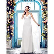 Lanting Bride Sheath/Column Petite / Plus Sizes Wedding Dress-Sweep/Brush Train Spaghetti Straps Chiffon