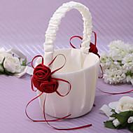 chic Blumenkorb in Elfenbein Satin mit Rosenblüten Blumenmädchen Korb