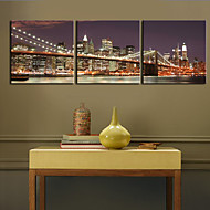 Stretched Canvas Art Landscape Shining Bridge Set of 3