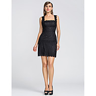 TS Couture Cocktail Party / Homecoming / Wedding Party Dress - Little Black Dress Sheath / Column Straps / Scalloped Short / Mini Lace