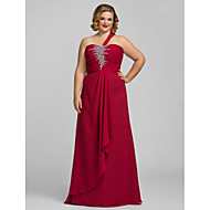 TS Couture® Formal Evening / Prom / Military Ball Dress - Burgundy Plus Sizes / Petite Sheath/Column One Shoulder Floor-length Chiffon
