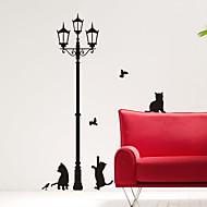 Animal Cats under Street Light Wall Stickers