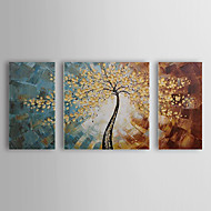 Hand-Painted Floral/BotanicalPastoral Three Panels Canvas Oil Painting For Home Decoration