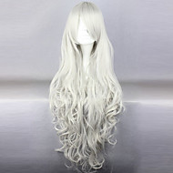 Cosplay Wigs Black Butler Queen Victoria White Long / Curly Anime Cosplay Wigs 90 CM Heat Resistant Fiber Female