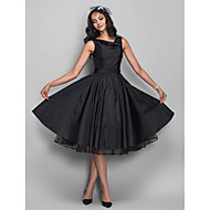 TS Couture® Cocktail Party /  Dress - Black Plus Sizes / Petite A-line Cowl Knee-length Taffeta