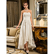 Sheath/Column Petite / Plus Sizes Wedding Dress - Ivory / Champagne Asymmetrical Strapless Tulle