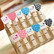 häät sisustus puinen mini sydän&square clip - set of 12 kpl
