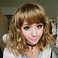 Kanekalon Fiber Full Bang Spegelvänd Hair Wig (Golden)