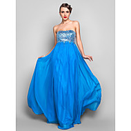 Formal Evening/Prom/Military Ball Dress - Ocean Blue Plus Sizes Sheath/Column Strapless Floor-length Chiffon/Sequined