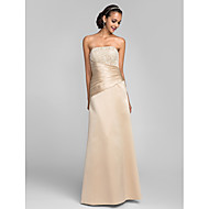 Dress - Open Back Plus Size / Petite Sheath / Column Strapless Floor-length Lace / Satin with Beading / Lace / Side Draping