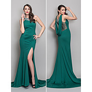 Military Ball/Formal Evening Dress - Dark Green Trumpet/Mermaid Scoop Sweep/Brush Train Jersey