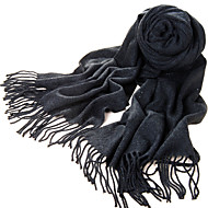Acrylic Fiber Dark Gray Warm Winter Scarf with Tassels