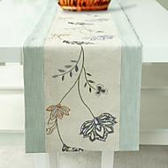 "Floral brodé Chemin de Table, Polyester / lin 80 ""* 14"""