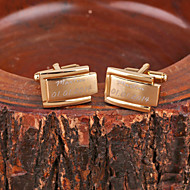 Personalized Gift Rectangle Gold Metal Engraved Cufflink
