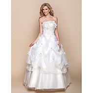A-line Wedding Dress - Ivory Floor-length Strapless Organza
