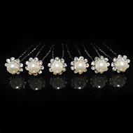 belles six pièces en alliage mariage épingles à cheveux de mariée avec strass et de perles d'imitation