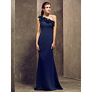 Floor-length Georgette Bridesmaid Dress - Dark Navy Plus Sizes / Petite Sheath/Column One Shoulder