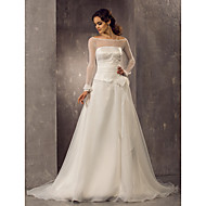 LAN TING BRIDE A-line Princess Wedding Dress - Classic & Timeless Elegant & Luxurious See-Through Court Train Off-the-shoulderOrganza