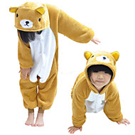 Kigurumi Pajamas Bear Leotard/Onesie Festival/Holiday Animal Sleepwear Halloween White / Yellow Patchwork Flannel Kigurumi For Kid