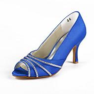 FemininoPeep Toe-Salto Agulha-Preto / Azul / Rosa / Roxo / Vermelho / Marfim / Branco / Prateado / Dourado / Champagne-Cetim / Cetim com
