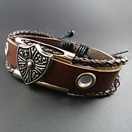 Herrn Lederarmbänder Einzigartiges Design Handgemacht Europäisch Modisch Perlenbesetzt Leder Aleación Schmuck Braun Schmuck FürAlltag