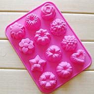 Dvanáct otvory Flower Shape Muffin Plech na pečení, silikonové (Color náhody)