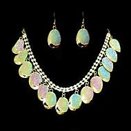 Vakker Alloy Gold med Clear Rhinestone kvinner Jewelry Set (inkludert halskjede, øredobber)