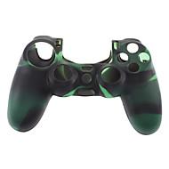 Silicone Skin pouzdro a 2 Black Thumb Stick Rukojeti pro PS4 (zelená + černá)