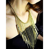 Women's Rock Punk Style Tassels Rivet Gold Necklace
