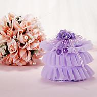 Lilac organza ring pute med blomst og Ribbon