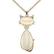 Lovely Gold Plated With Opal Kitty Pendant Women's Necklace