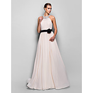 Formal Evening/Military Ball Dress - Pearl Pink Plus Sizes A-line Halter Floor-length Georgette