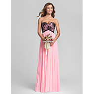 Lanting Floor-length Chiffon / Lace Bridesmaid Dress - Candy Pink Plus Sizes / Petite Sheath/Column Sweetheart
