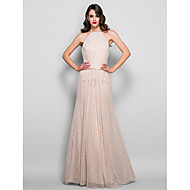 TS Couture® Formal Evening / Prom / Military Ball Dress - Champagne Plus Sizes / Petite Sheath/Column Jewel Floor-length Lace / Charmeuse