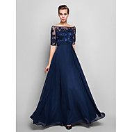 TS Couture® Formal Evening / Military Ball Dress - Dark Navy Plus Sizes / Petite Sheath/Column Off-the-shoulder Floor-length Chiffon / Tulle