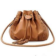 Women PU Casual Shoulder Bag Brown / Black
