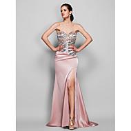 Formal Evening / Black Tie Gala Dress - Plus Size / Petite Trumpet/Mermaid Sweetheart Sweep/Brush Train Stretch Satin